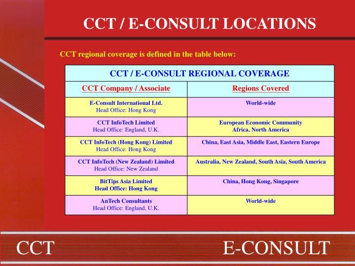 CCT / E-CONSULT LOCATIONS