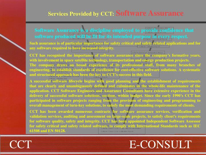 Services Provided by CCT:
