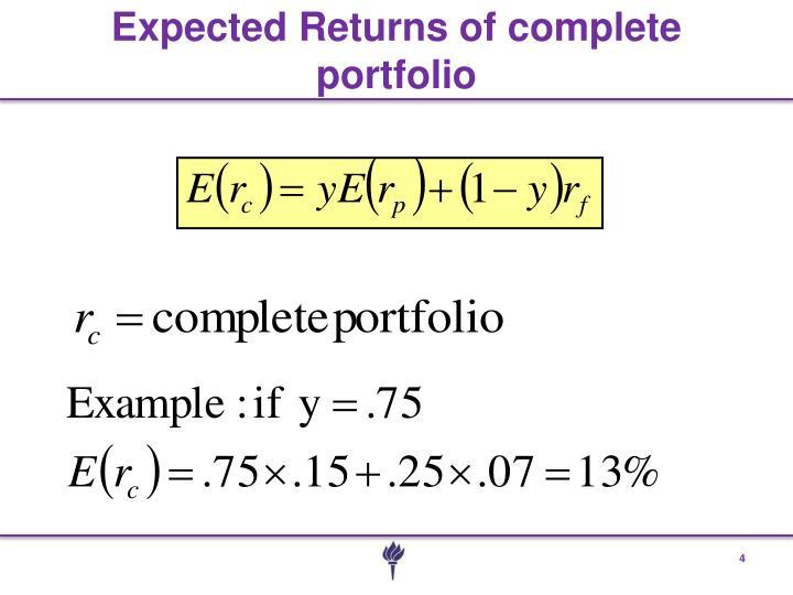 Expected Returns of complete portfolio