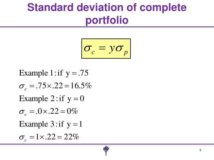 Standard deviation of complete portfolio