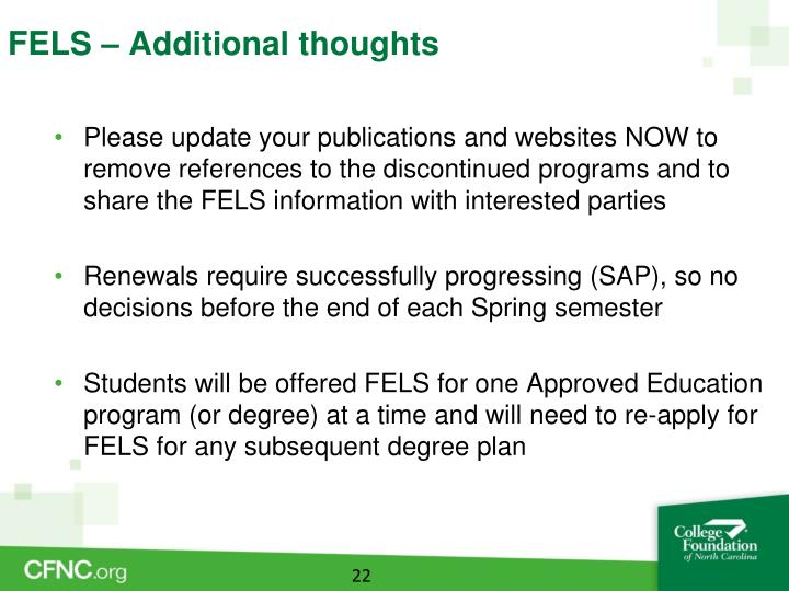 FELS – Additional thoughts