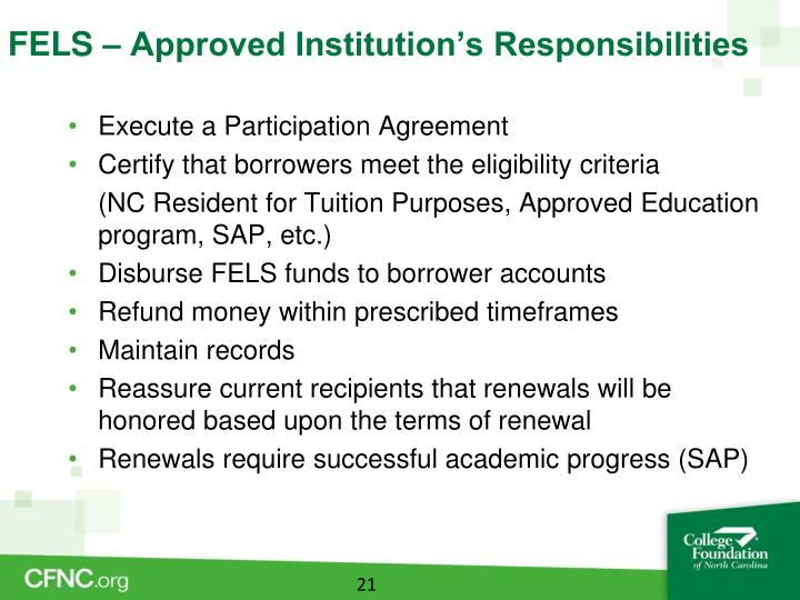 FELS – Approved Institution's Responsibilities