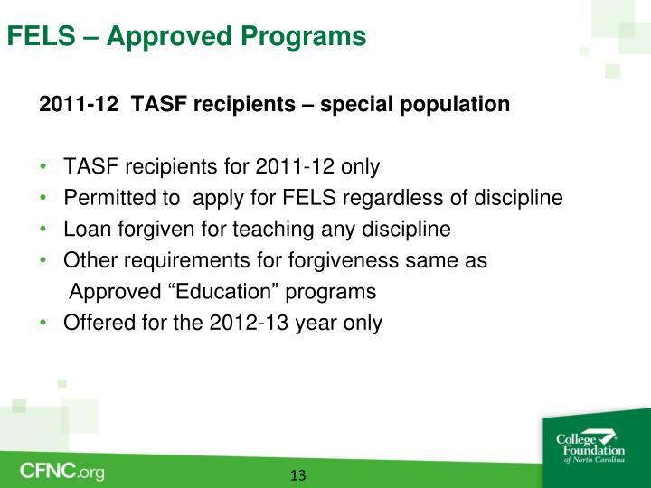 FELS – Approved Programs