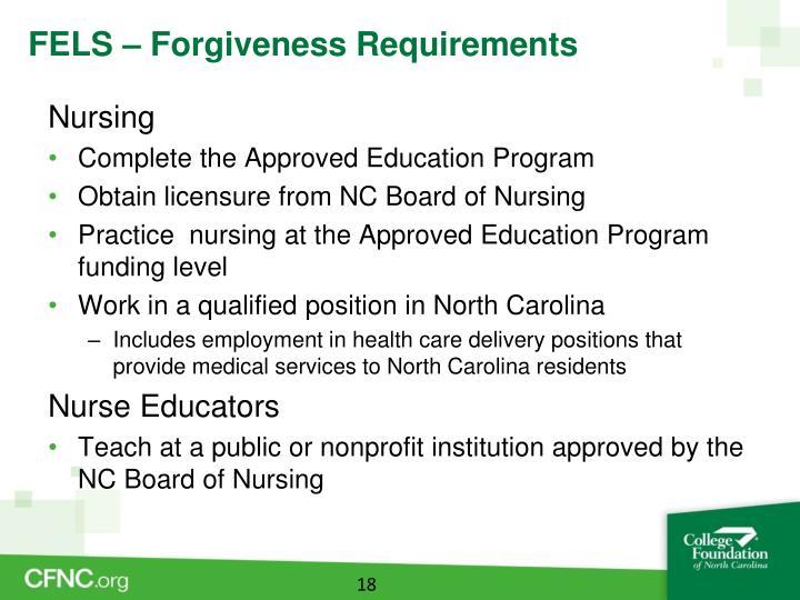 FELS – Forgiveness Requirements