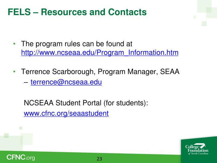 FELS – Resources and Contacts