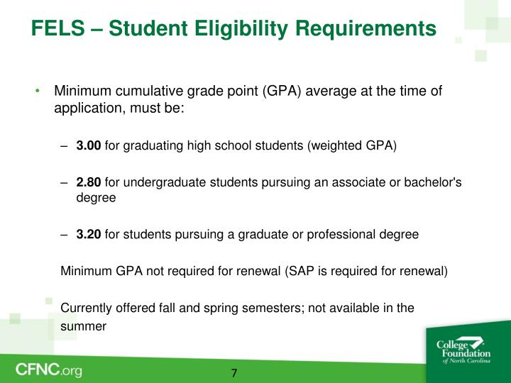 FELS – Student Eligibility Requirements