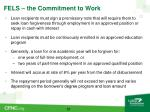fels the commitment to work