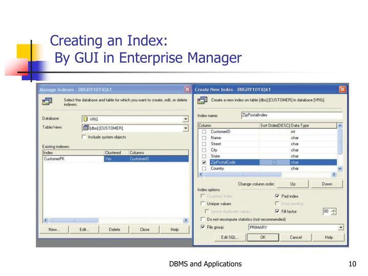 Creating an Index: