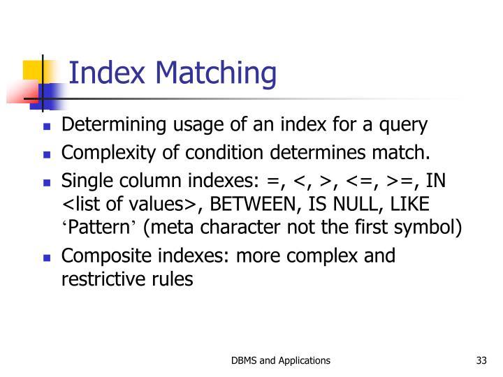 Index Matching