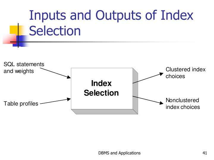 Inputs and Outputs of Index Selection