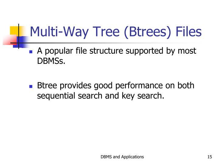 Multi-Way Tree (Btrees) Files