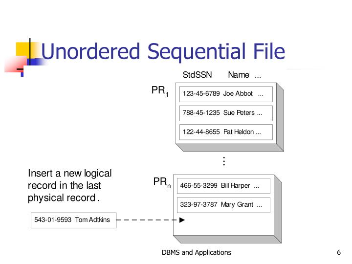 Unordered Sequential File