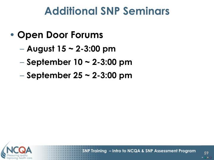 Additional SNP Seminars
