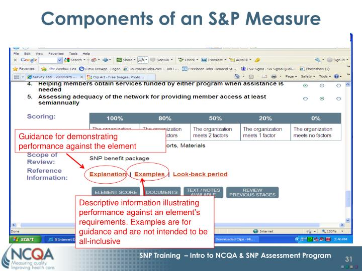 Components of an S&P Measure