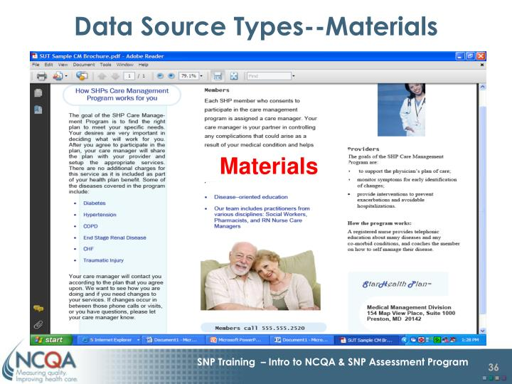 Data Source Types--Materials