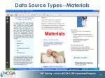 data source types materials