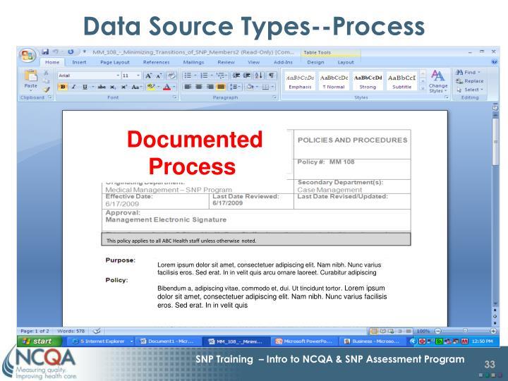 Data Source Types--Process