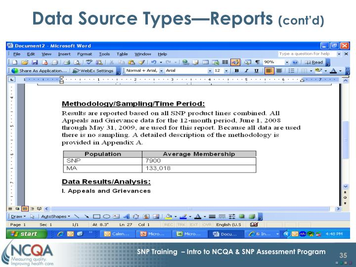Data Source Types—Reports