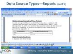 data source types reports cont d