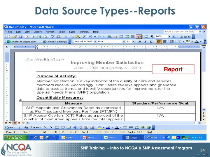 Data Source Types--Reports