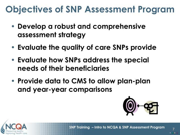 Objectives of SNP Assessment Program