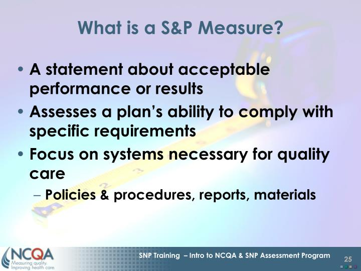 What is a S&P Measure?