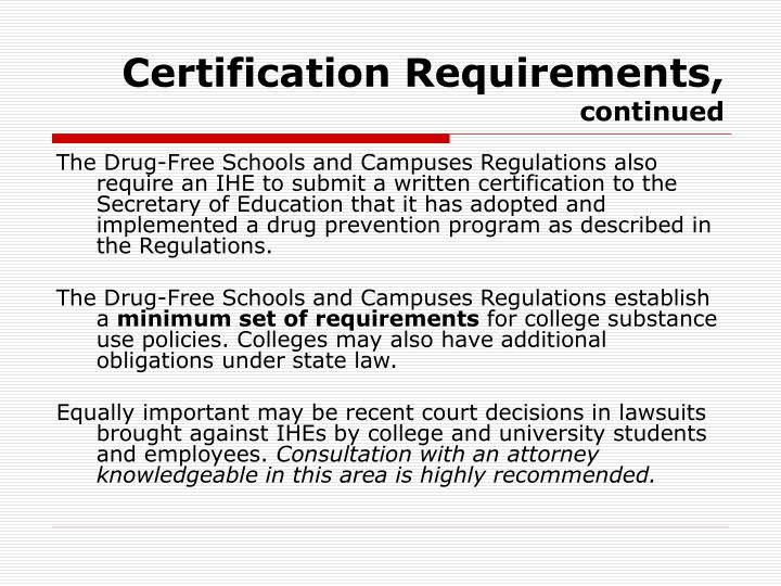 Certification Requirements,