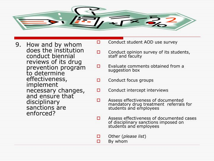 Conduct student AOD use survey