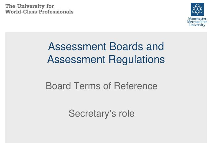 assessment boards and assessment regulations