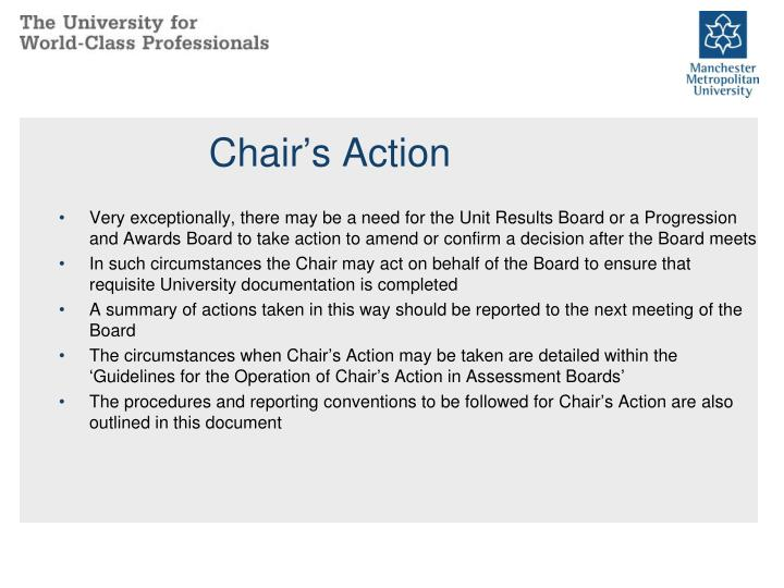 Chair's Action