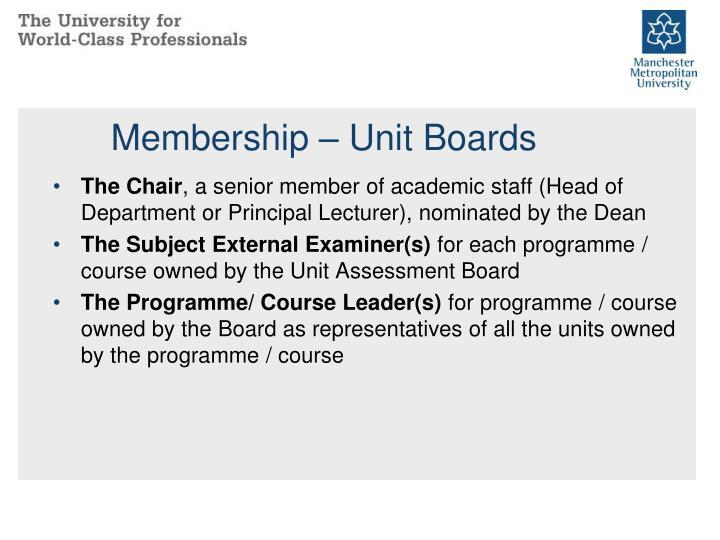 Membership – Unit Boards