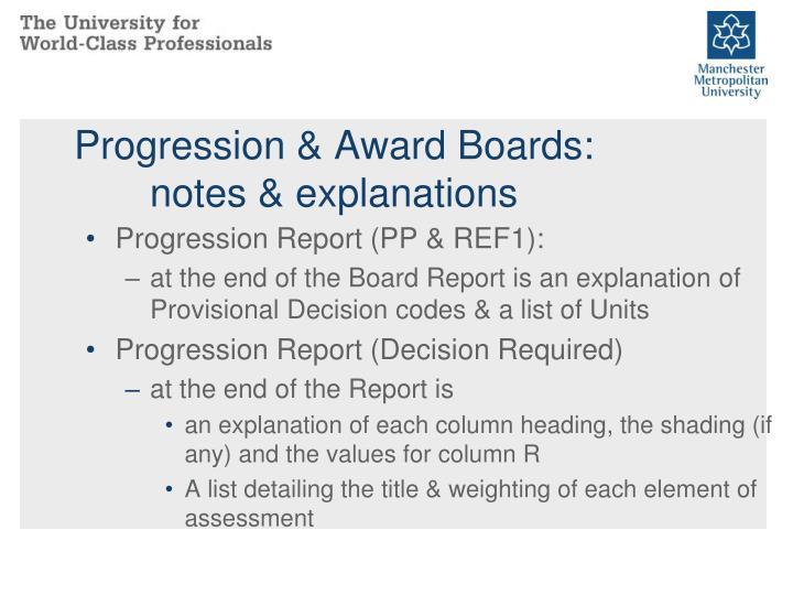 Progression & Award Boards: