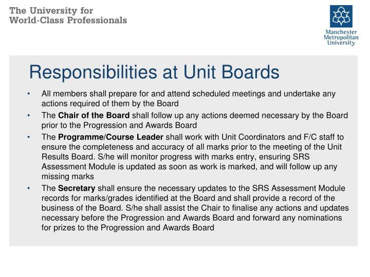 Responsibilities at Unit Boards