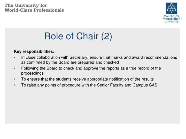 Role of Chair (2)