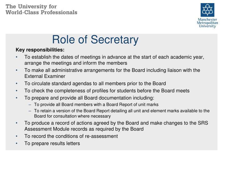 Role of Secretary