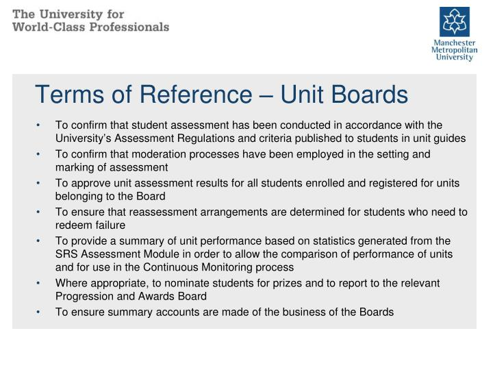 Terms of Reference – Unit Boards