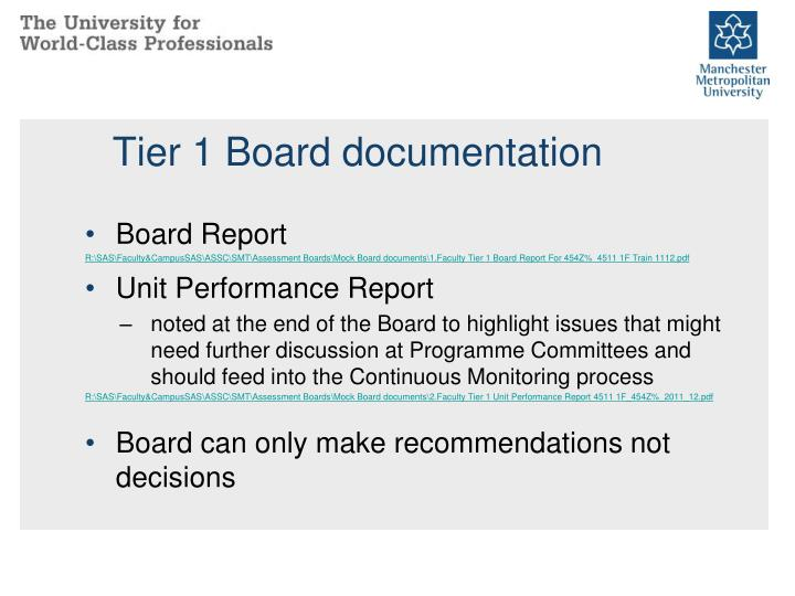 Tier 1 Board documentation