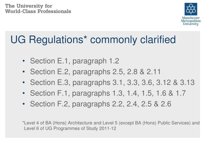 UG Regulations* commonly clarified