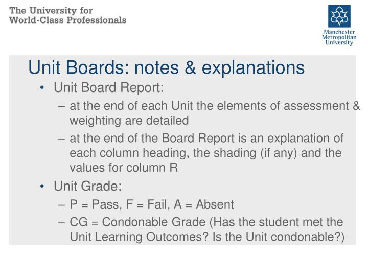 Unit Boards: notes & explanations