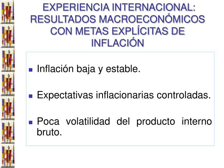 EXPERIENCIA INTERNACIONAL: RESULTADOS MACROECONÓMICOS CON METAS EXPLÍCITAS DE INFLACIÓN