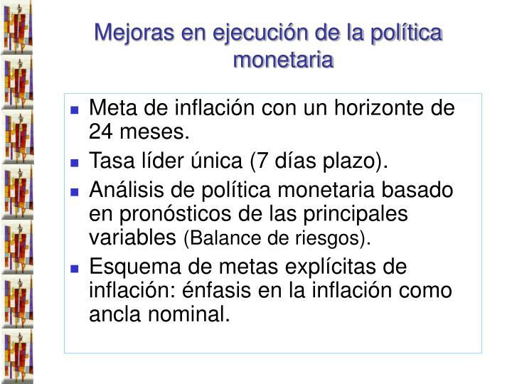 Meta de inflación con un horizonte de 24 meses.