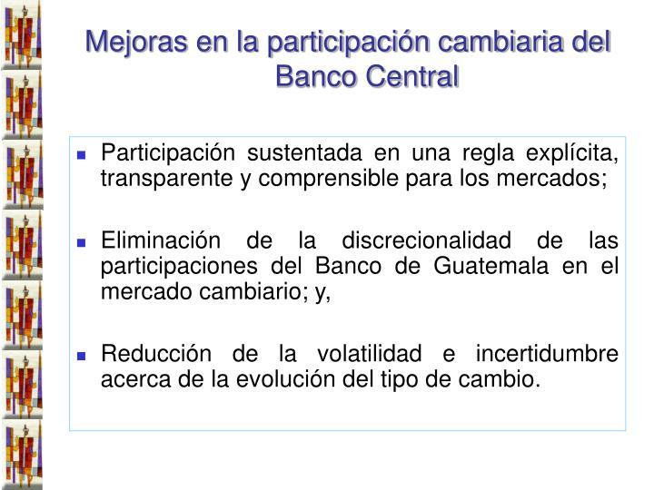 Mejoras en la participación cambiaria del Banco Central