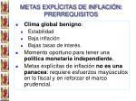 metas expl citas de inflaci n prerrequisitos