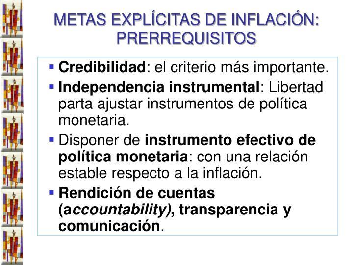 METAS EXPLÍCITAS DE INFLACIÓN: