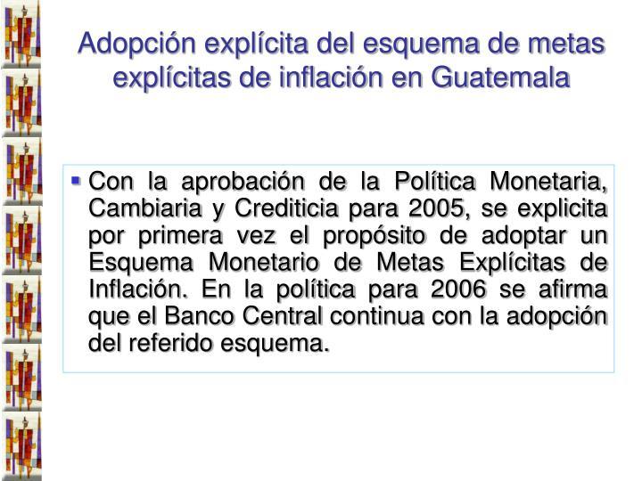 Adopción explícita del esquema de metas explícitas de inflación en Guatemala