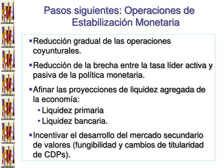 Pasos siguientes: Operaciones de Estabilización Monetaria