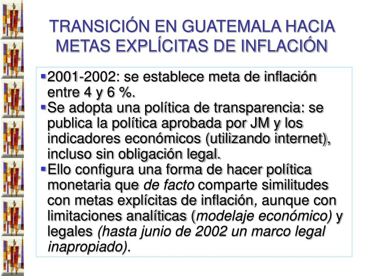 TRANSICIÓN EN GUATEMALA HACIA METAS EXPLÍCITAS DE INFLACIÓN