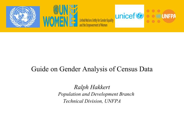 Guide on Gender Analysis of Census Data