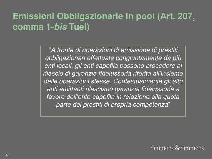 Emissioni Obbligazionarie in pool