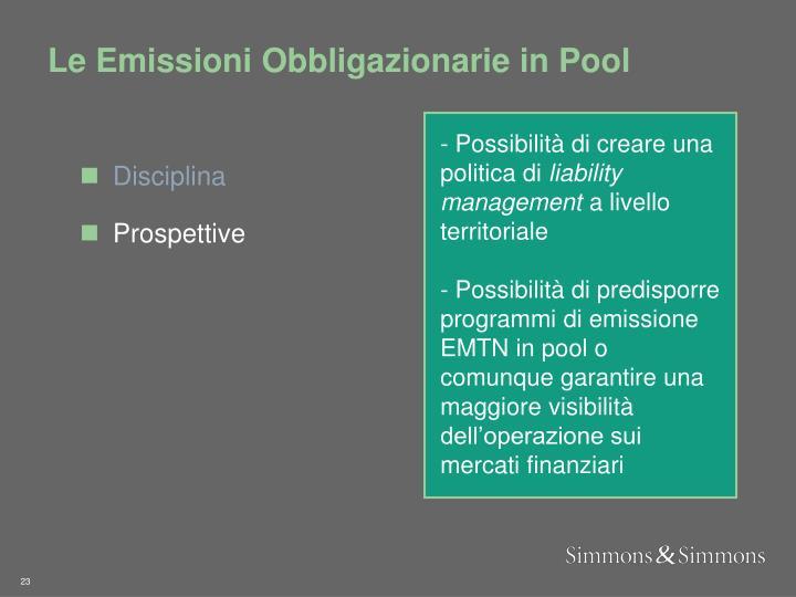 Le Emissioni Obbligazionarie in Pool